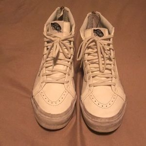White Leather Hightop Vans